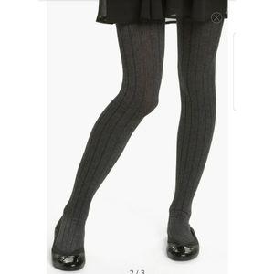 NEW Frenchi Charcoal Gray Ribbed Knit Tights M/L